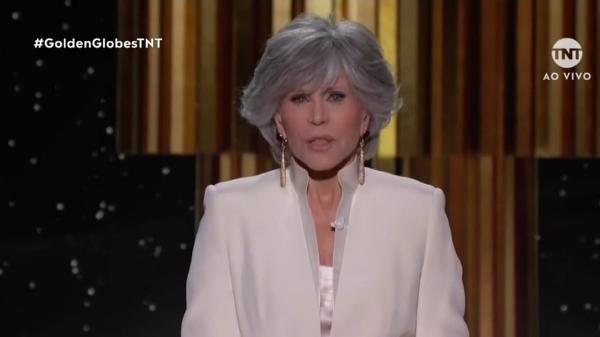 Jane Fonda no Globo de Ouro pede igualdade em Hollywood