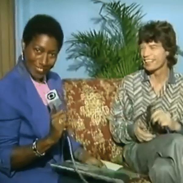 Glória Maria durante entrevista com Mick Jagger