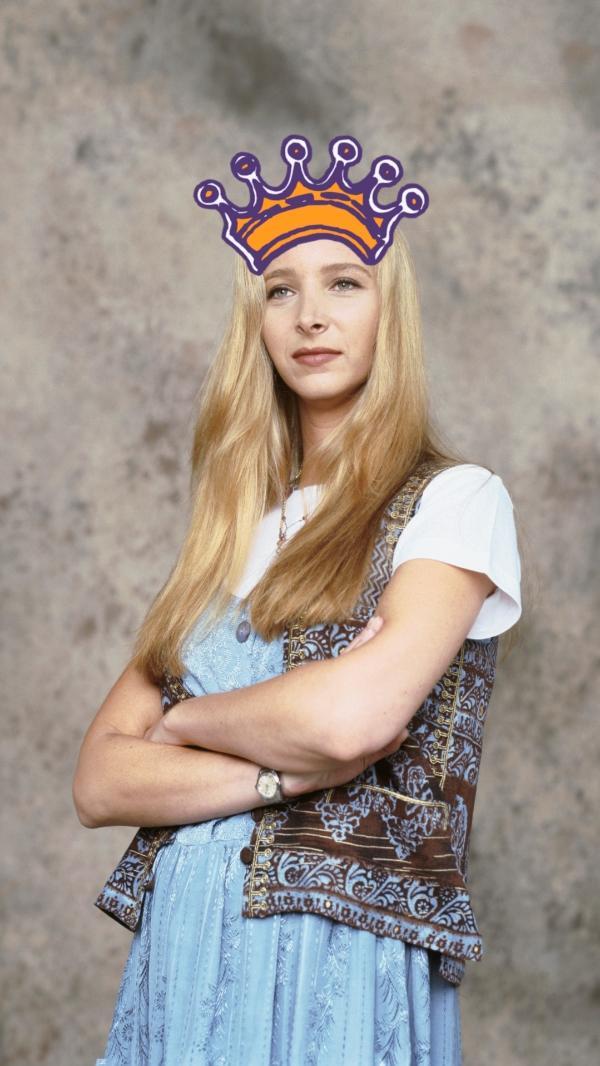 """A personagem Phoebe, de """"Friends"""", com uma ilustração de coroa"""