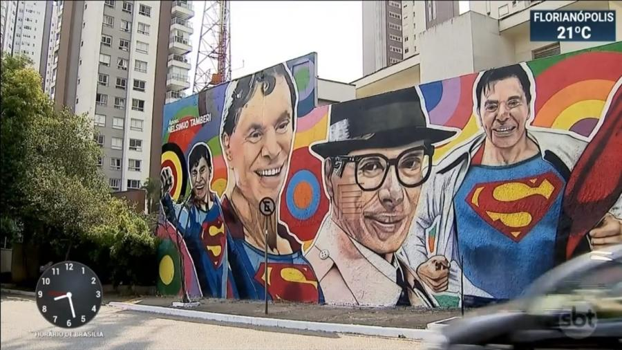 Mural em homenagem aos 90 anos de Silvio Santos, na av. 23 de Maio, em São Paulo - Reprodução SBT