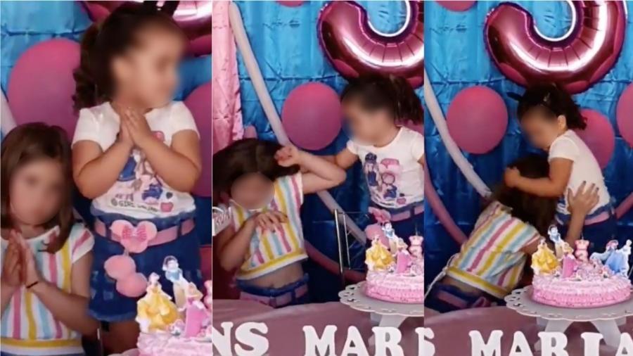 Maria Eduarda, 3, e Maria Antônia, 6, brigaram durante festinha de aniversário - Reprodução