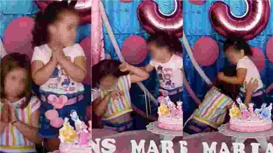 As irmãs Maria Eduarda e Maria Antônia brigam durante festa de aniversário de três anos - Reprodução