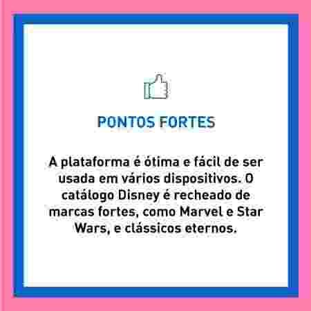 Disney batalha streamings - pontos fortes - Arte/UOL - Arte/UOL