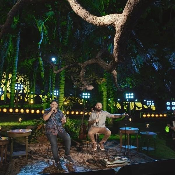Jorge e Mateus na gravação do disco e DVD 'Tudo em Paz'