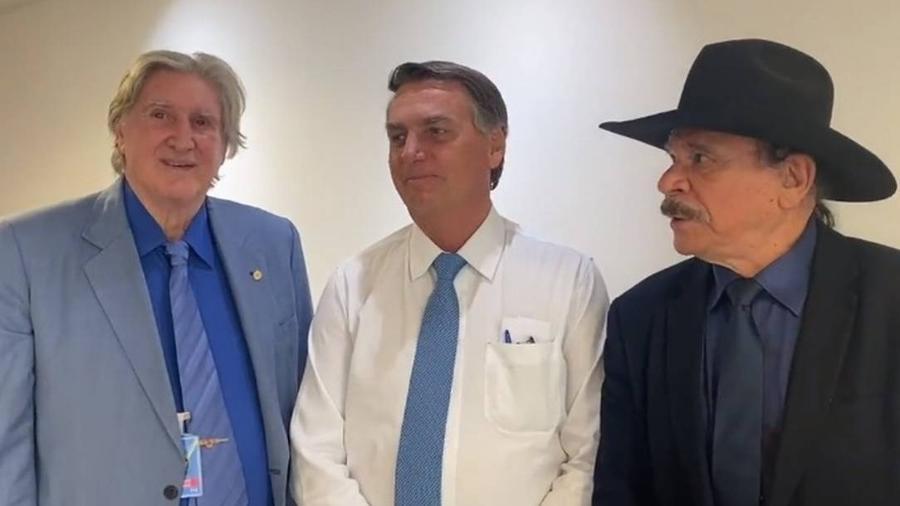 Sérgio Reis, Jair Bolsonaro e Eduardo Araújo - Reprodução