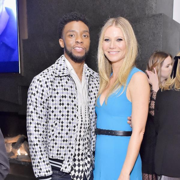 20.mar.2018 - Chadwick Boseman e Gwyneth Paltrow durante evento em Los Angeles, na California (EUA)