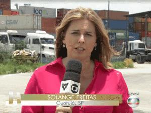 A repórter Solange Freitas em link para o Jornal Hoje - Reprodução/TV Globo - Reprodução/TV Globo