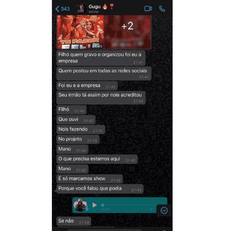 Print de conversa entre MC Pedrinho e seu empresário - Reprodução - Reprodução