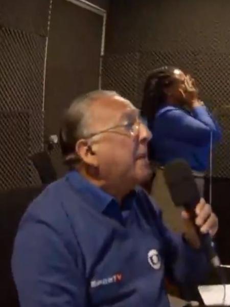 Galvão Bueno e Daiane dos Santos se empolgaram na transmissão - Reprodução/Globo