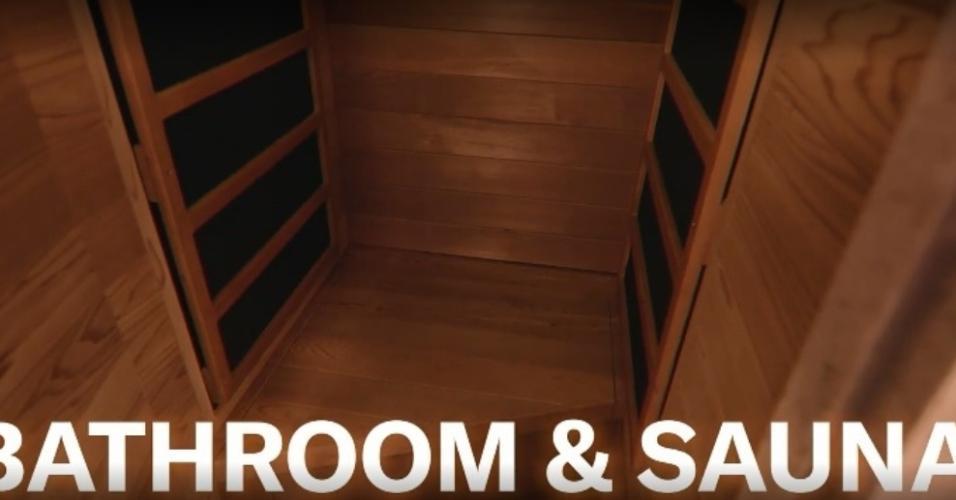 Banheiro e sauna do ônibus de Justin Bieber