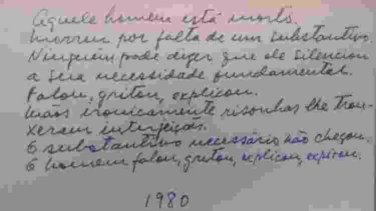 Poema escrito por Paulo Freire - Acervo do Instituto Paulo Freire - Acervo do Instituto Paulo Freire