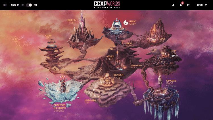 tela inicial ccxp worlds - Reprodução - Reprodução