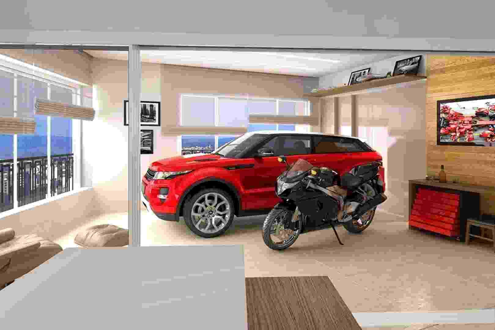 Foto demonstrativa da garagem dentro do apartamento onde Gusttavo Lima está morando - Divulgação/VictorianLiving