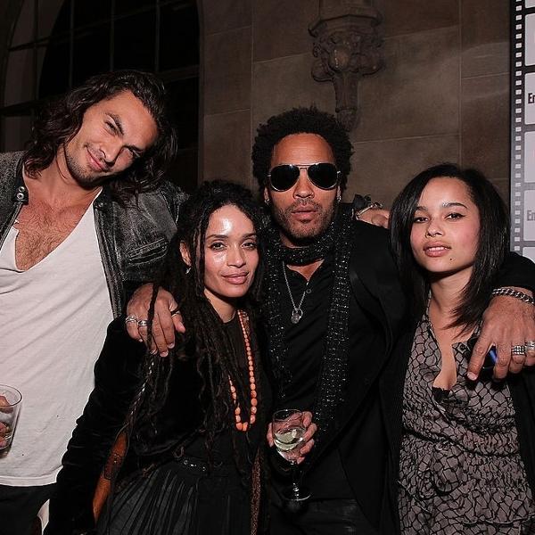 25.fev.2010 - Jason Momoa, Lisa Bonet, Lenny Kravitz e Zoe Kravitz