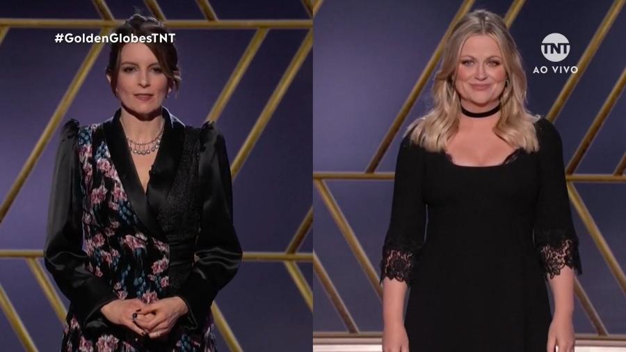 Tina Fey e Amy Poehler no Globo de Ouro, que registrou queda de audiência no comparativo com anos anteriores - Reprodução