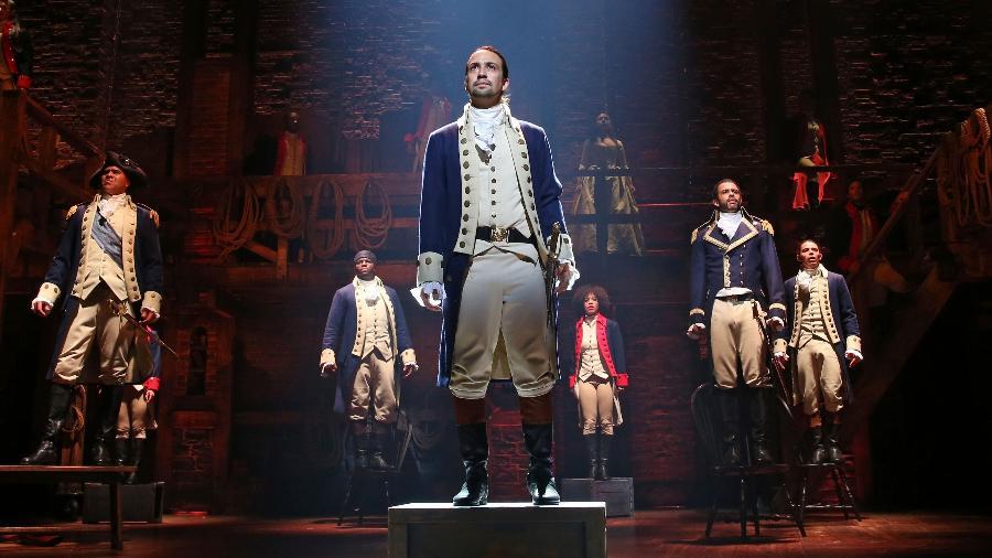 """Cena do musical """"Hamilton"""" - Divulgação"""