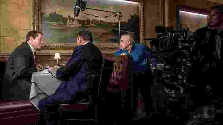 "Scorsese dirige Robert De Niro e Joe Pesci em ""O Irlandês"" - Niko Tavernis/Netlfix"