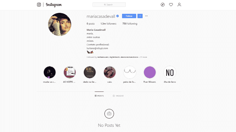 Atriz Maria Casadevall apagou todas as fotos do Instagram - Instagram/@mariacasadevall