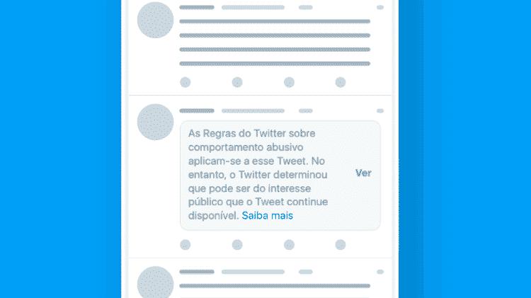Twitter inclui aviso em postagens com conteúdo de políticos que violam regras - Reprodução - Reprodução