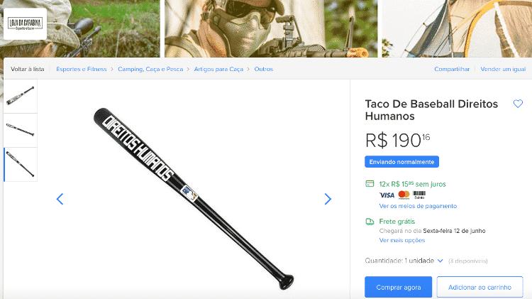 Anúncio do taco 'direitos humanos' em site de vendas - Reprodução - Reprodução