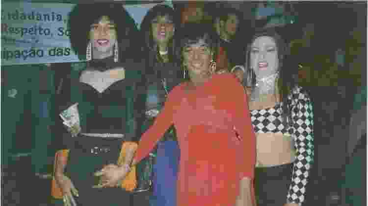 Taline Marcel, Claudia Castelli, Silvetty Montilla e Natalina Bispo na primeira Parada de São Paulo, em 1997 - Arquivo Pessoal - Arquivo Pessoal