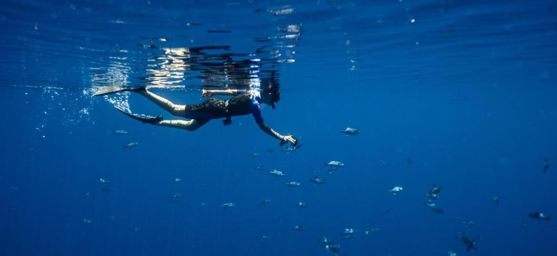 Fernanda Ligabue em seu primeiro mergulho no oceano Índico - Laurel Chor/Greenpeace