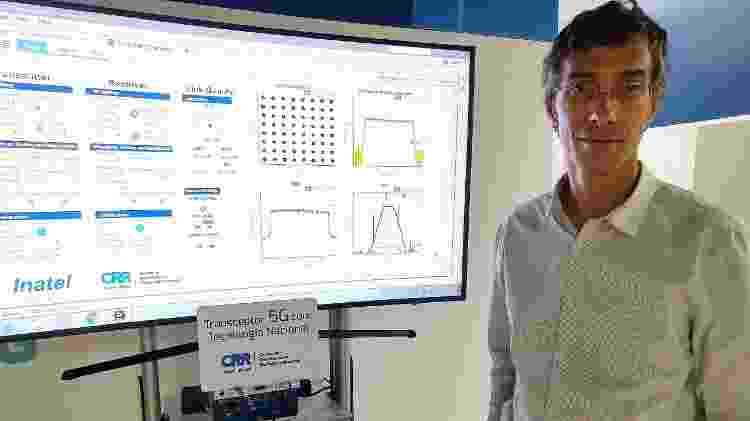 Luciano Leonel, coordenador do Centro de Referência em Radiocomunicações, e o transmissor 5G - Fabiana Maranhão/Colaboração para o TAB