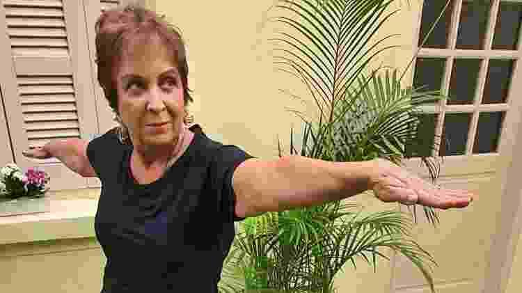Heloísa Schurmann se exercita na casa do filho David, onde está passando a quarentena - Família Schurmann/Acervo pessoal