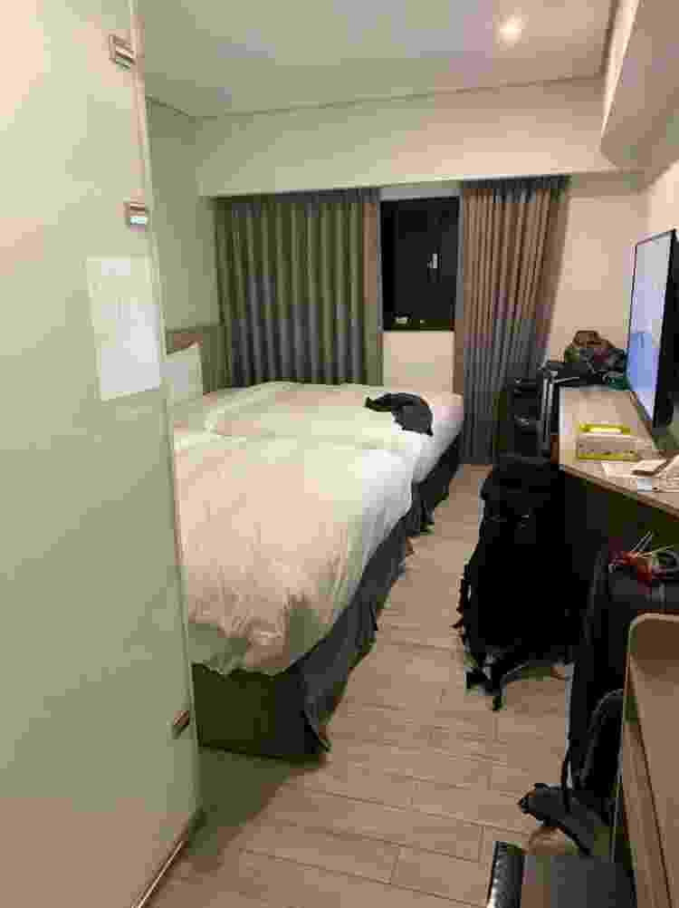 O quarto de hotel ontem a estilista brasileira Chialin Chiang quarentenou, em Taiwan - Arquivo pessoal - Arquivo pessoal