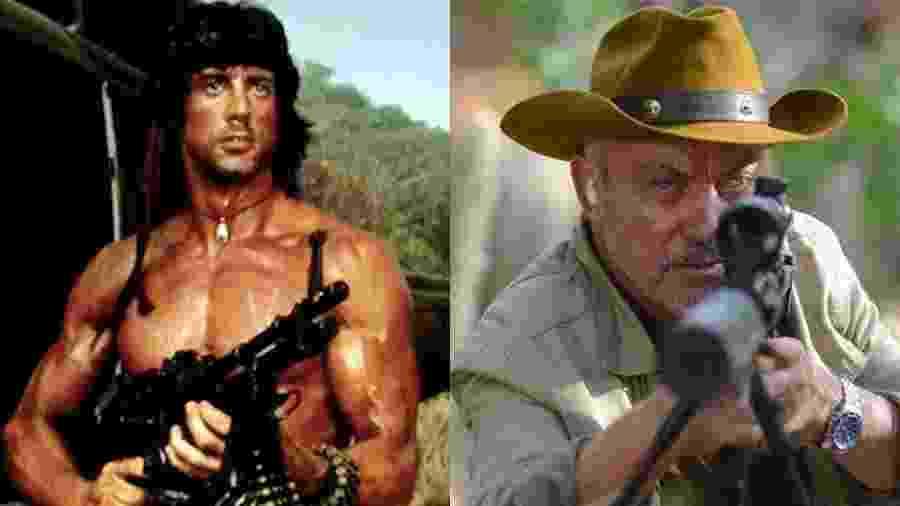 Rambo enfrenta o exército norte-americano no filme original, Udo Kier lidera grupo de americanos no filme Bacurau - Arte UOL