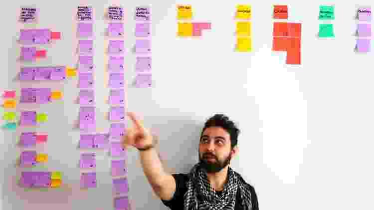 Ivan Mizanzuk, em seu apartamento em Curitiba, mostra o quadro de post-its em que estrutura as histórias - Theo Marques/UOL - Theo Marques/UOL
