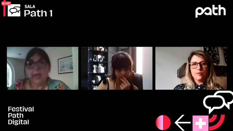 """Rosa Alegria, Lidia Zuin e Luiza Sahd na mesa """"2020, o ano que não aconteceu"""" - Festival Path/Reprodução"""