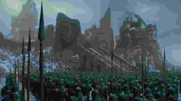 Na cena aparece o castelo de Porto Real dominado pelas tropas de Daenerys - Divulgação