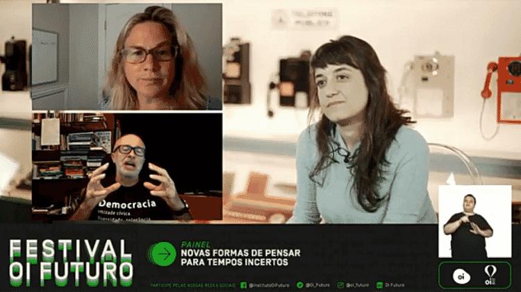"""Martha Cotton, Silvio Meira e Gabriela Agustini na mesa """"Novas formas de pensar para tempos incertos"""" - Oi Futuro/Reprodução - Oi Futuro/Reprodução"""