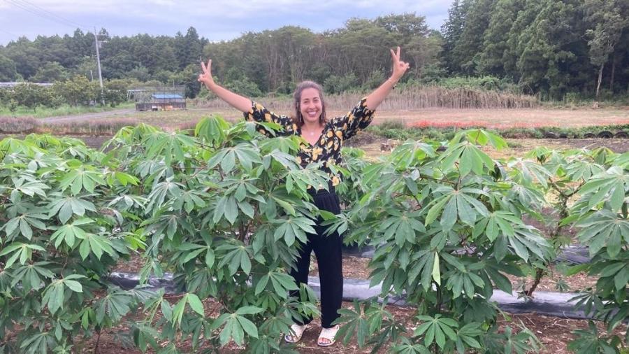Gabriela Bailas no cultivo de mandioca no Japão  - Arquivo pessoal