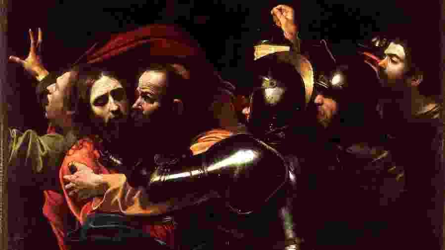 """""""A Captura de Cristo"""" (Caravaggio, 1602) - Reprodução"""