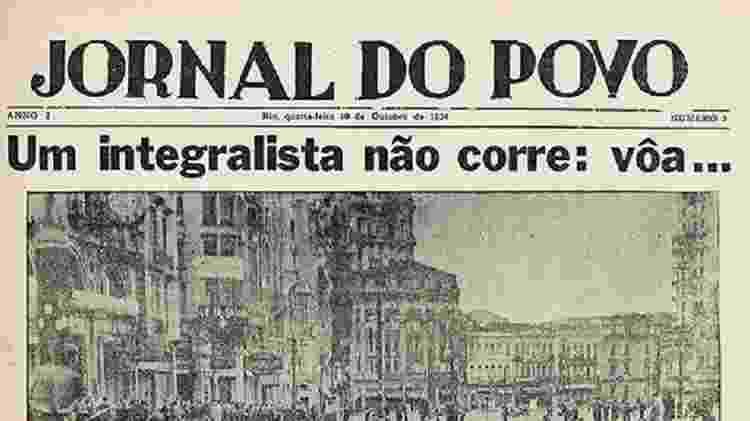 """Capa histórica do """"Jornal do Povo"""" reportando o confronto entre antifascistas e integralistas em 1934 - Reprodução - Reprodução"""