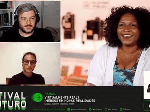 """Rodrigo Terra, Daniela Klaiman e Silvana Bahia na mesa """"Virtualmente real? Imersos em novas realidades"""" - Oi Futuro/Reprodução - Oi Futuro/Reprodução"""