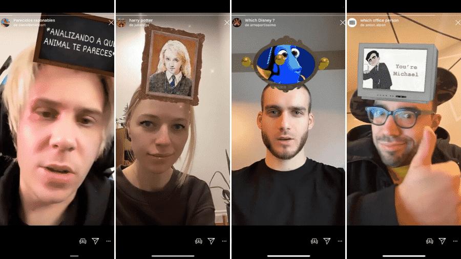 @danielbetancort, @juliaroga, @arnopartissimo e @anton.alpen desenvolveram alguns dos filtros mais conhecidos no Instagram - Reprodução/Instagram @danielbetancort @juliaroga @arnopartissimo @anton.alpen
