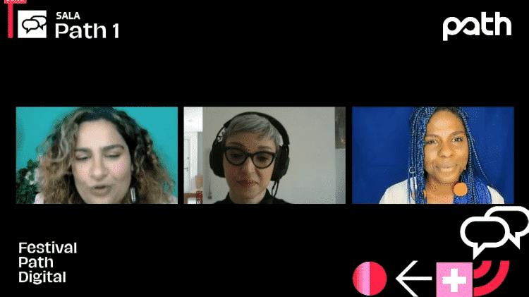 Alexandra Gurgel, Cris Guerra e Marina Martins no painel 'Beleza é padrão?' - Festival Path/Reprodução - Festival Path/Reprodução