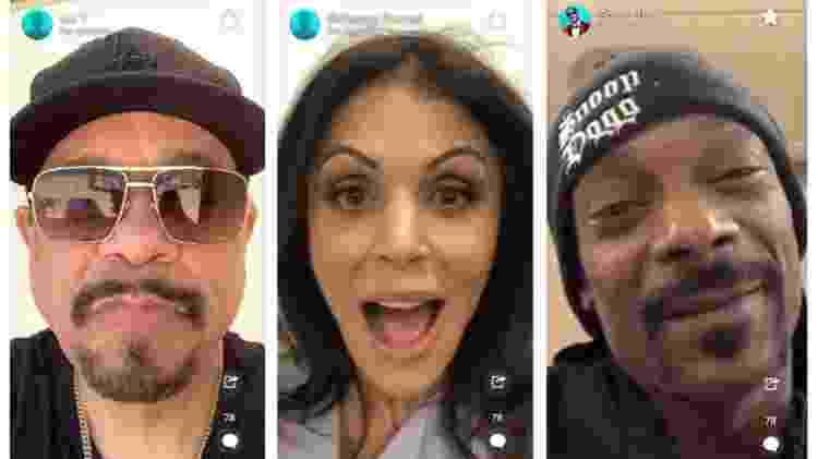 Os rappers Ice T e Snoop Dog e a celebridade de reality show Bethenny Frenkel estão no menu do aplicativo - Reprodução