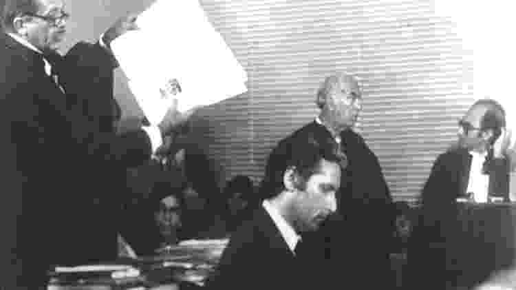 Doca Street, durante seu primeiro julgamento, em 1979; ele foi condenado a dois anos, com direito a sursis - Folhapress/Folhapress - Folhapress/Folhapress