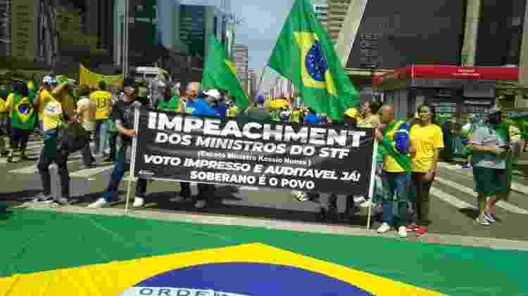 Faixa estendida durante manifestações no Sete de Setembro, em São Paulo - Henrique Santiago/UOL - Henrique Santiago/UOL