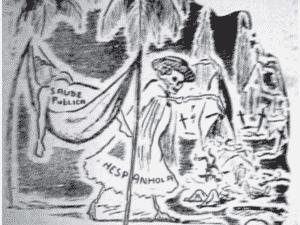 Charge publicada no jornal O Imparcial, da Bahia (1918) - 'A Gripe Espanhola na Bahia' / Reprodução - 'A Gripe Espanhola na Bahia' / Reprodução