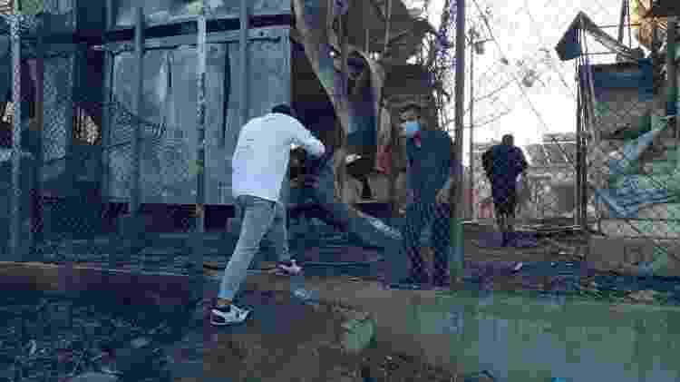 Incêndio no campo de Moria, o maior abrigo de refugiados da Europa: mais de 12 mil pessoas estão desabrigadas - Reza Hassani/Arquivo pessoal - Reza Hassani/Arquivo pessoal