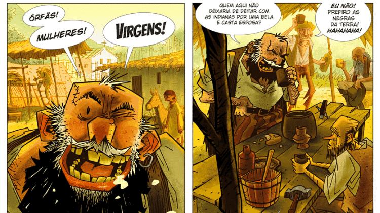 """Quadrinhos de """"A Infância do Brasil"""", do ilustrador José Aguiar - Reprodução - Reprodução"""