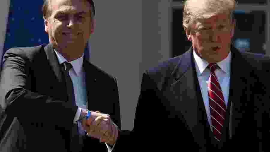Os presidentes Jair Bolsonaro e Donald Trump, em reunião de 2019 em Washington - Mark Wilson/Getty Images