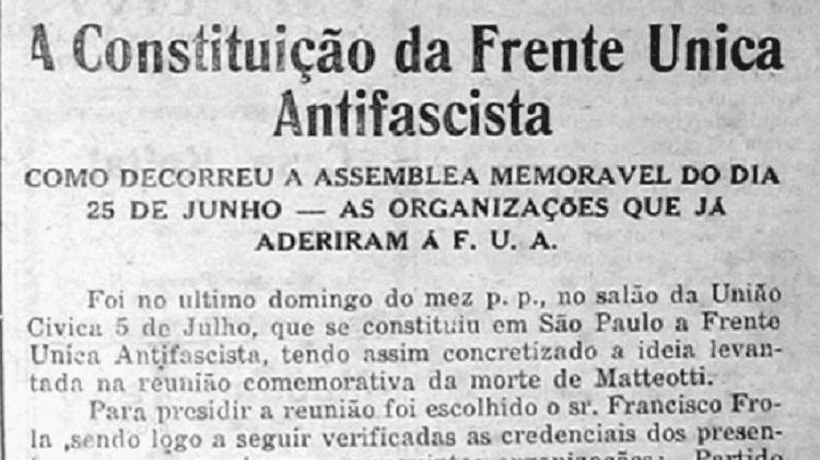 """Nota publicada no jornal """"O Homem Livre"""" sobre a fundação da Frente Única Antifascista - Reprodução/O Homem Livre - Reprodução/O Homem Livre"""