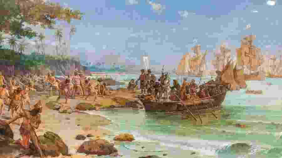 Desembarque de Cabral em Porto Seguro. Óleo sobre tela de Oscar Pereira da Silva, 1904 - Acervo do Museu Histórico Nacional, Rio de Janeiro