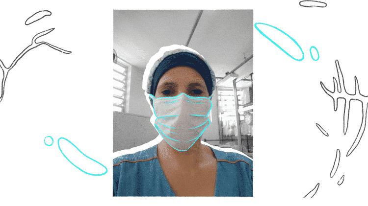 Alessandra Contel, auxiliar de lavanderia da Santa Casa de Araçatuba, SP - Arquivo pessoal/ Arte: Oda Moura - Arquivo pessoal/ Arte: Oda Moura